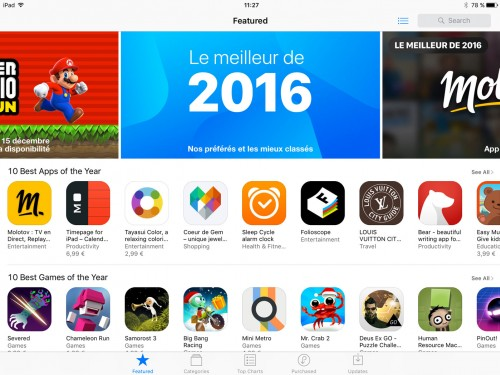 Apple store 2016 :<br/>10 best apps of the year